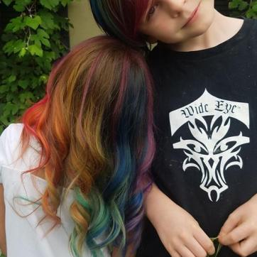 Mini Clients with Rainbow hair.